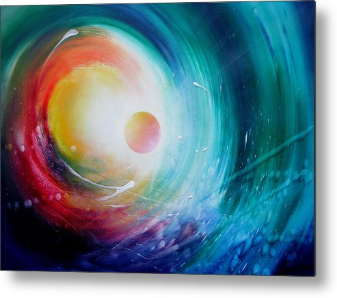Microcosm Metal Print featuring the painting Sphere F31 by Drazen Pavlovic