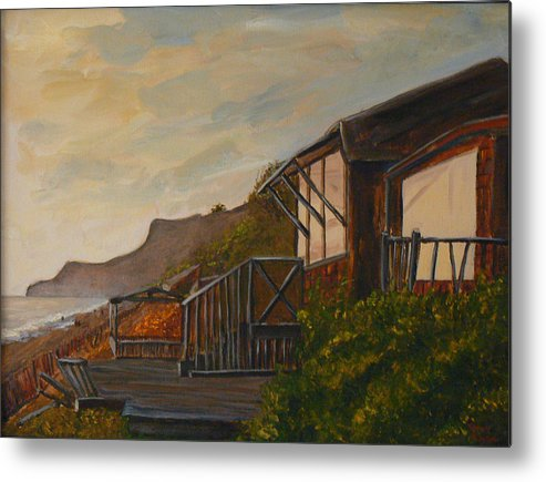 Beach Metal Print featuring the painting Sunset At The Beach House by Terry Taylor