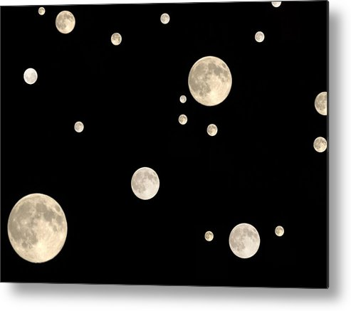 Moons Small Large Black Background White Space Orbit Cluster Metal Print featuring the photograph Too Many Moons by Becky Arvin
