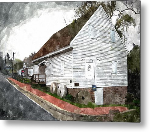 2d Metal Print featuring the photograph Wye Mill - Water Color Effect by Brian Wallace
