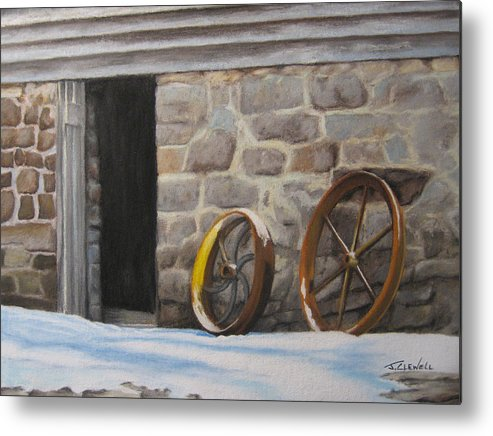 Landscape Metal Print featuring the pastel Yellow Whell by James Clewell