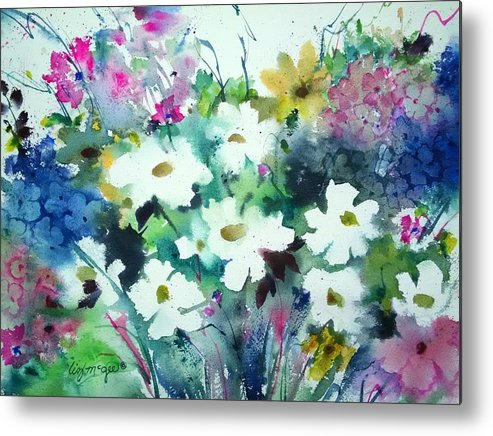 Loose Floral Watercolor Metal Print featuring the painting Bursting Forth by Lizbeth McGee