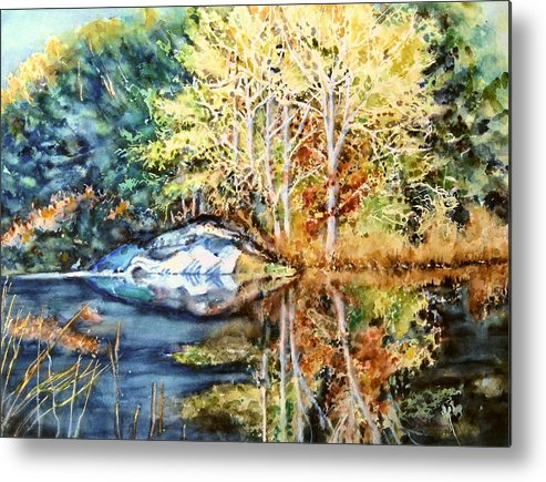 Trees Metal Print featuring the painting The Tree Across The Pond by June Conte Pryor