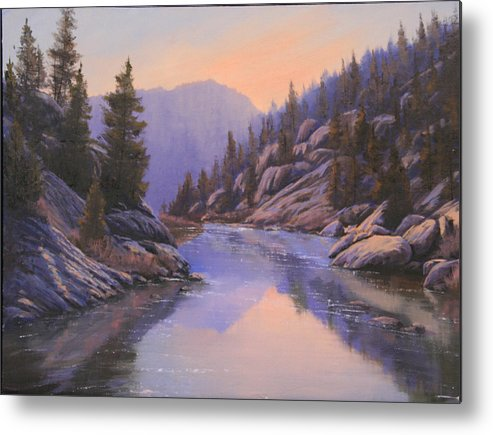 Landscape Metal Print featuring the painting 071123-1612 Remnants Of The Day In The Canyon by Kenneth Shanika