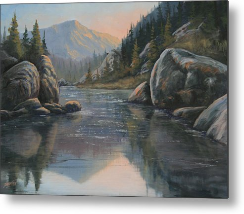 Landscape Metal Print featuring the painting 071215-1612 Fading Light by Kenneth Shanika