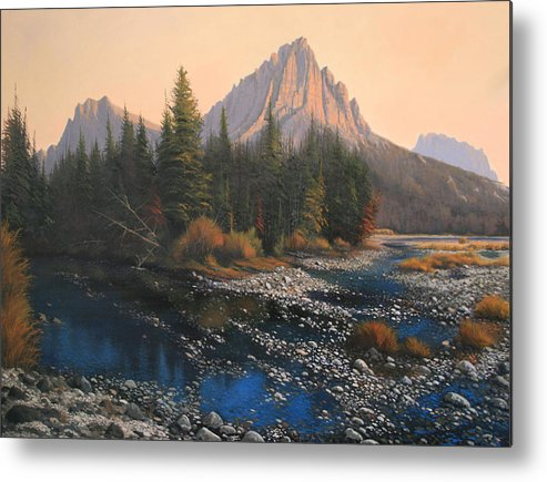 Autumn Metal Print featuring the painting 080414-4030 September Evening On Horse Thief Creek by Kenneth Shanika
