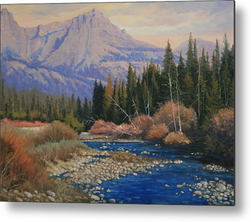 Landscape Metal Print featuring the painting 091019-912 Wandering Toward Sundown by Kenneth Shanika