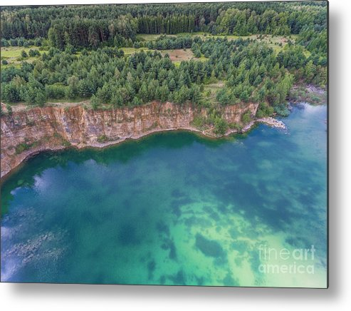 Above Metal Print featuring the photograph Blue Laggon See From Above In Old Sand Mine In Poland. by Mariusz Prusaczyk
