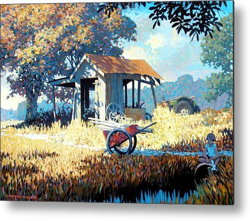 Cart Metal Print featuring the painting Breaktime by Kevin Lawrence Leveque