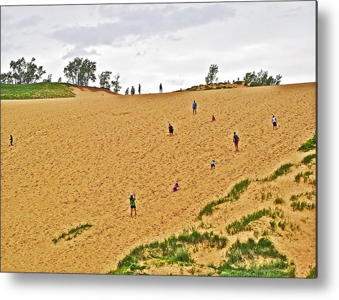 Dune Climb In Sleeping Bear Dunes National Lakeshore Metal Print featuring the photograph Dune Climb In Sleeping Bear Dunes National Lakeshore-michigan by Ruth Hager