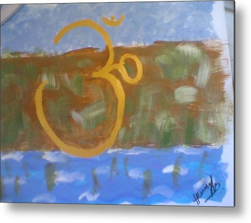 Omkar Metal Print featuring the painting Hds-universal Om by Hema V Gopaluni