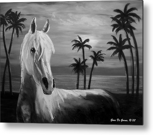 Horses Metal Print featuring the painting Horses In Paradise Tell Me Your Dream by Gina De Gorna