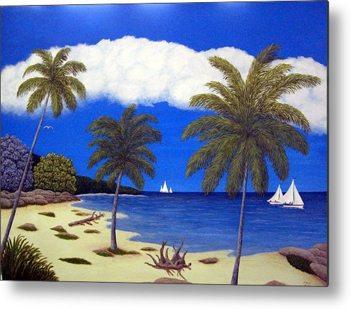 Landscape Art Metal Print featuring the painting Palm Bay by Frederic Kohli