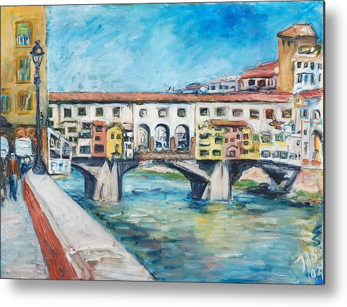 Bridge Italy Old Water Sky People Houses Metal Print featuring the painting Pontevecchio by Joan De Bot