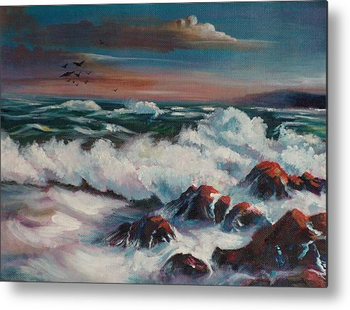 Seascape Metal Print featuring the painting Seascape 01 by Sylvia Stone