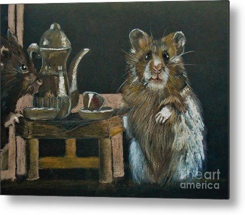 Hamsters Metal Print featuring the pastel Tea For Two by Angela Cartner