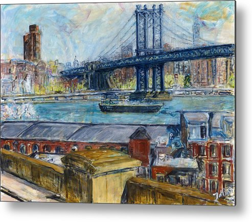 New York Manhattan Bridge Water River Boat Warehouses Metal Print featuring the painting View From Brooklyn Bridge by Joan De Bot