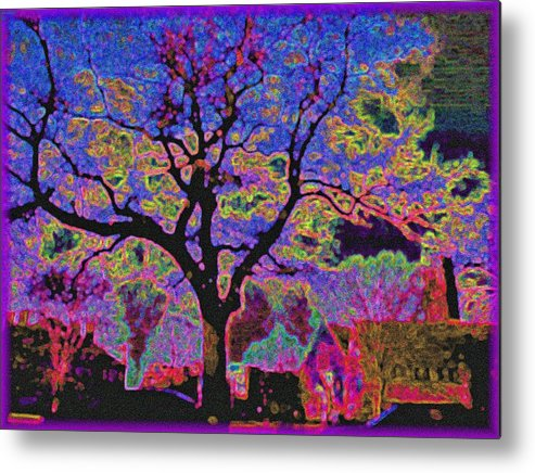 Landscape Metal Print featuring the painting 113z Gothic Blue by Ed Immar