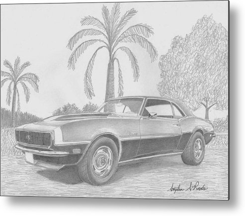 Rooks10904 Drawings Metal Print featuring the drawing 1968 Chevrolet Camaro Ssrs Classic Car Art Print by Stephen Rooks