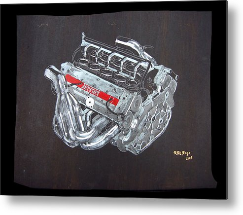Ferrari Metal Print featuring the painting 1996 Ferrari F1 V10 Engine by Richard Le Page
