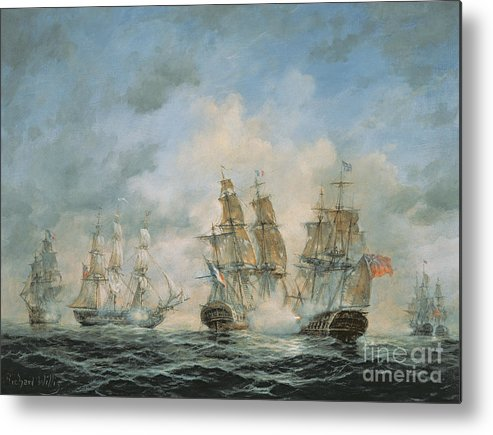 Seascape; Navel; Sea; Ship; Ships; Navel Engagement; Flag; Flags; Cloud; Clouds; Battle; Battling; Sailing; Sailing Ships Metal Print featuring the painting 19th Century Naval Engagement In Home Waters by Richard Willis