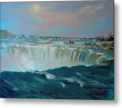 Landscape Metal Print featuring the painting Niagara Falls by Ylli Haruni