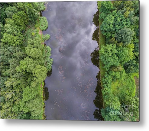 Above Metal Print featuring the photograph Summer Landscape. Green Trees At Riverbank In Poland. by Mariusz Prusaczyk