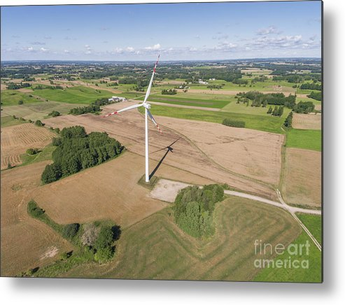 Copter Metal Print featuring the photograph Wind Turbines In Suwalki. Poland. View From Above. Summer Time. by Mariusz Prusaczyk