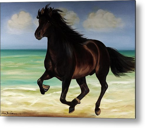 Horse Metal Print featuring the painting Horses In Paradise Run by Gina De Gorna