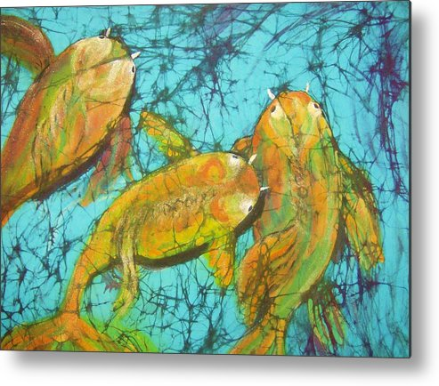 Koi Metal Print featuring the tapestry - textile 3 Koi by Kay Shaffer