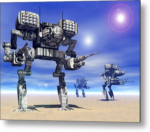 Science Fiction Metal Print featuring the digital art 501st Mech Trinary by Curtiss Shaffer