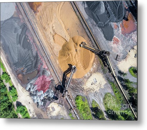 Above Metal Print featuring the photograph Mining Excavator On The Bottom Surface Mine. by Mariusz Prusaczyk