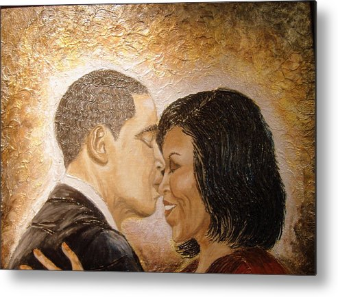 Barack And Michelle Obama Metal Print featuring the painting A Kiss For A Queen by Keenya Woods