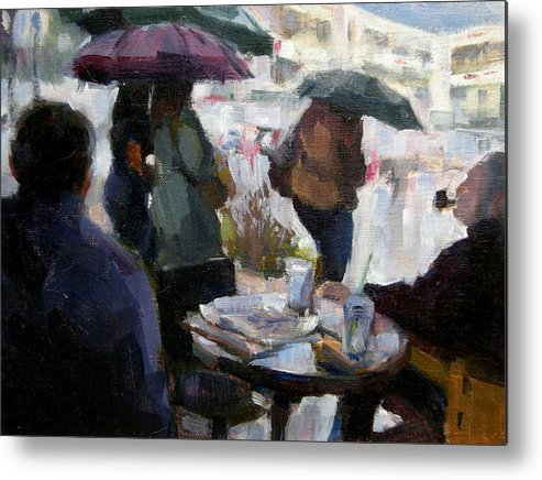 Urban Metal Print featuring the painting A Rainy Day At Starbucks by Merle Keller