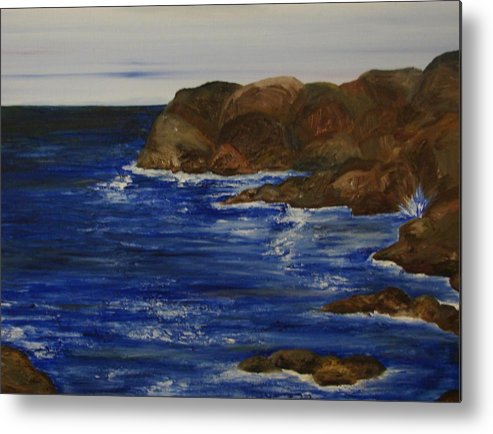Seascape Metal Print featuring the painting A Rocky Coast by Shiana Canatella