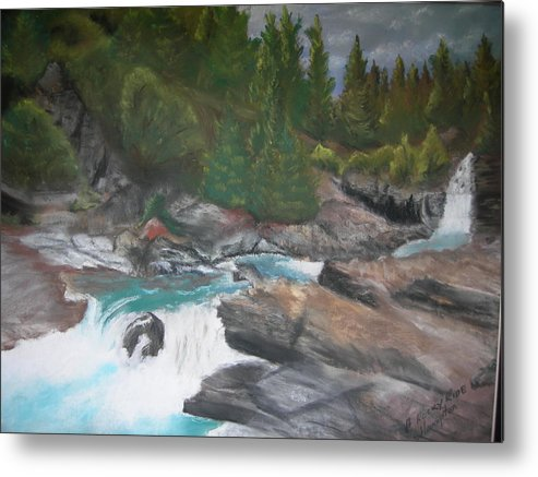 Landscape Metal Print featuring the painting A Rocky Ride by Jack Hampton