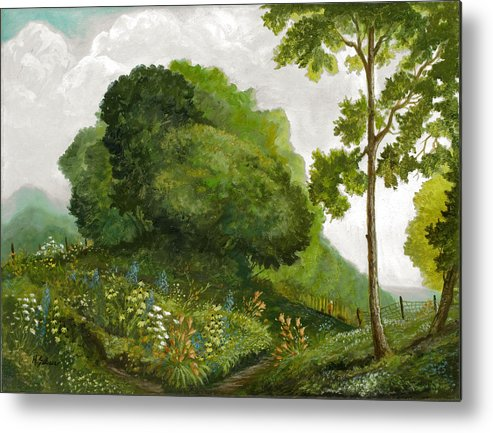 Landscape Painting Metal Print featuring the painting Abandoned Garden by Michael Scherer