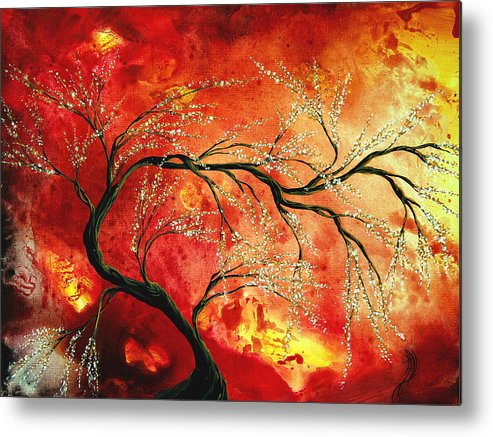 Abstract Metal Print featuring the painting Abstract Art Floral Tree Landscape Painting Fresh Blossoms By Madart by Megan Duncanson