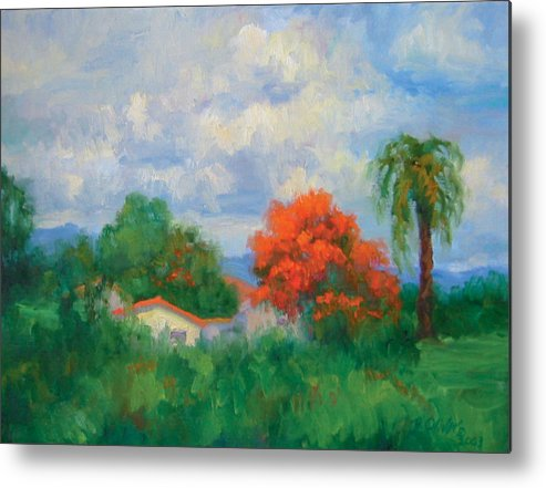 Honduras Metal Print featuring the painting Acacias And Red Roofs by Bunny Oliver