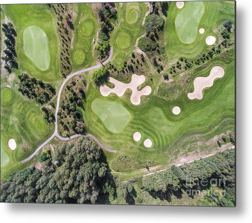 Hill Metal Print featuring the photograph Aerial View Over Golf Field In Poland. Summer Time. by Mariusz Prusaczyk