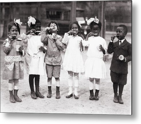 History Metal Print featuring the photograph African American First Graders Learn by Everett