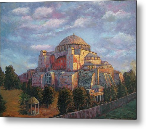 Church Metal Print featuring the painting Agia Sofia by Charalampos Laskaris