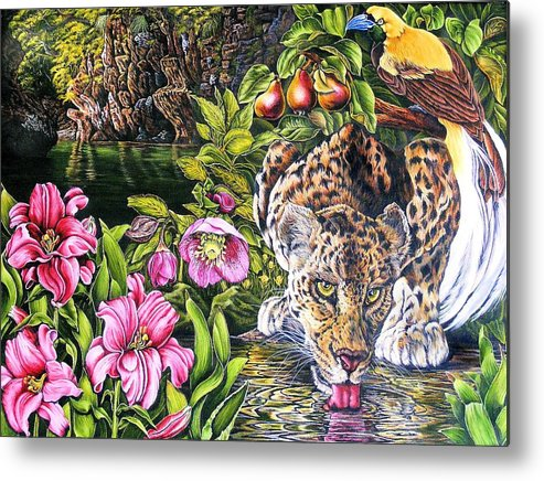 Leoapord Metal Print featuring the painting Alidas Garden by Donald Dean