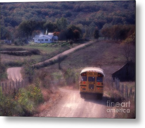 Rural School Bus Metal Print featuring the photograph Almost Home by Garry McMichael