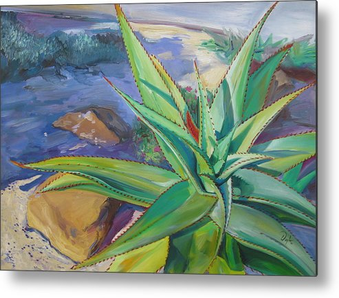 Plants Metal Print featuring the painting Aloe Vera Number Two by Karen Doyle