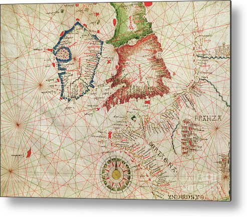 Map Of England Scotland And Ireland.Antique Map Of The French Coast England Scotland And Ireland From A Nautical Atlas 1520 Metal Print