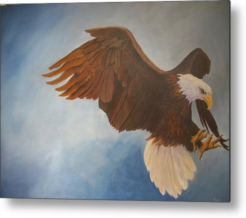 Bald Eagle Metal Print featuring the painting Attack Life by Bill Werle