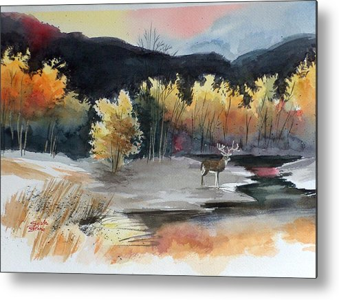 Deer Metal Print featuring the painting Autimn Buck by Sylvia Stone