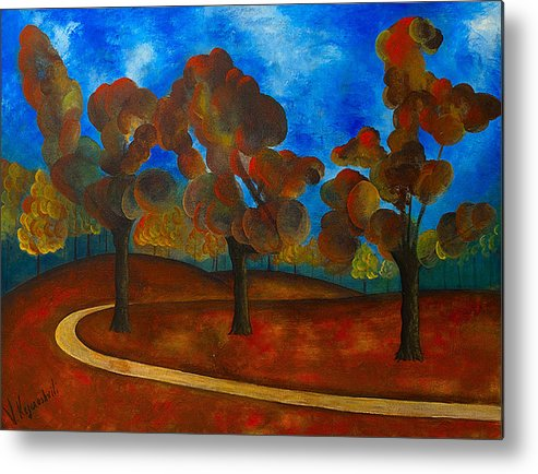 Landscape Metal Print featuring the painting Autumn by Vladimir Kezerashvili