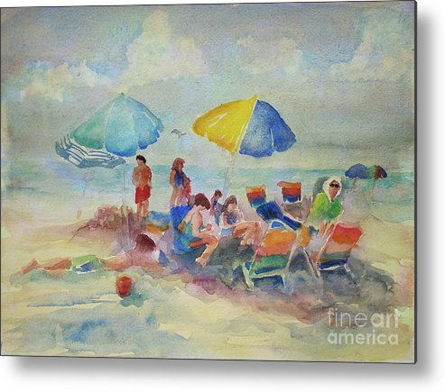Beach Day Metal Print featuring the painting Beach Day by B Rossitto